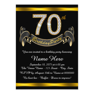 "70th Birthday Party 5.5"" X 7.5"" Invitation Card"
