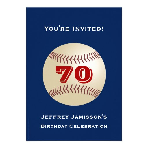 70th Birthday Party Invitation Baseball Invites