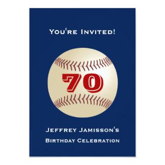 """70th Birthday Party Invitation Baseball 5"""" X 7"""" Invitation Card"""