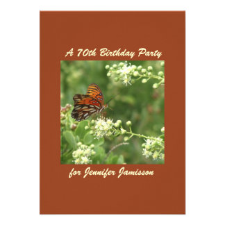 70th Birthday Party Invitation Butterfly Custom Announcement