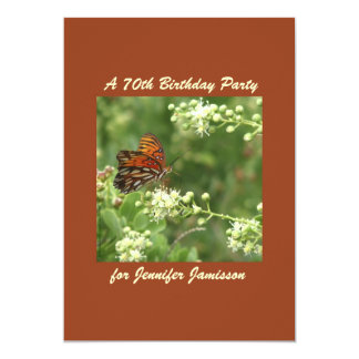 "70th Birthday Party Invitation Butterfly 5"" X 7"" Invitation Card"