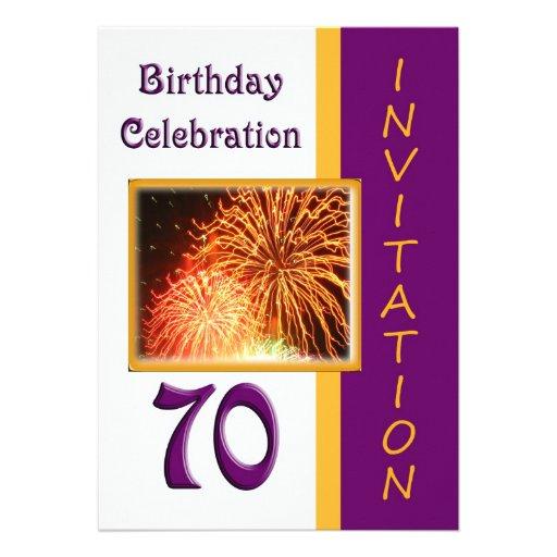 70th Birthday Party Invitation - Fireworks