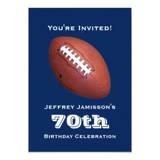 """70th Birthday Party Invitation, Football 5"""" X 7"""" Invitation Card"""