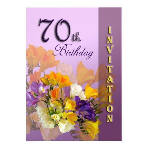 70th Birthday Party Invitation - Freesias