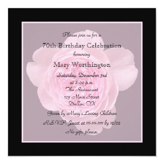 70th Birthday Party Invitation Rose for 70th