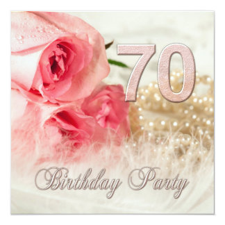 70th Birthday party invitation, roses and pearls 13 Cm X 13 Cm Square Invitation Card