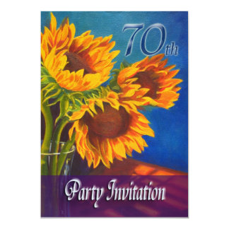 70th Birthday Party Invitation - Sunflowers