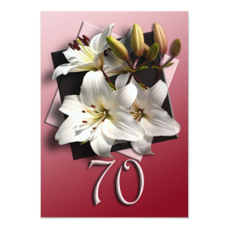 70th Birthday Party Invitation - white lilies