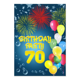 70th Birthday party Invitation with balloons