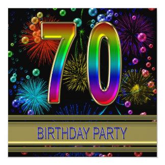 """70th Birthday party Invitation with bubbles 5.25"""" Square Invitation Card"""