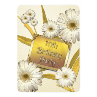 70th Birthday Party Invitation with daisies