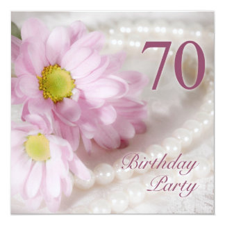 """70th Birthday party invitation with daisies 5.25"""" Square Invitation Card"""