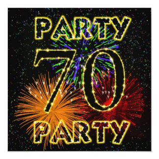 """70th birthday party invitation with fireworks 5.25"""" square invitation card"""