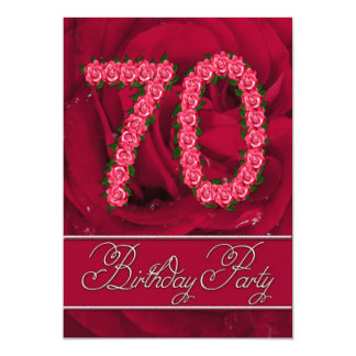 70th birthday party invitation with roses