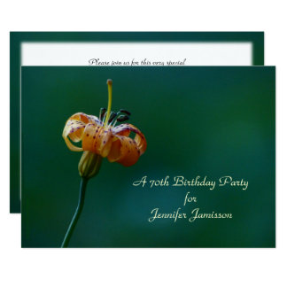 70th Birthday Party Invitation, Yellow Lily Card