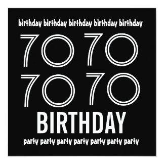 70th Birthday Party Invite Black White 1184