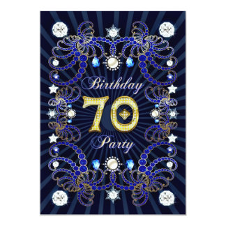 70th birthday party invite with masses of jewels