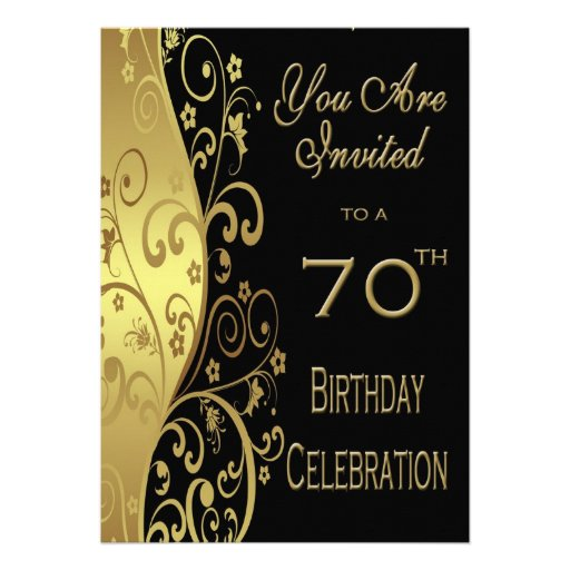 70th Birthday Party Personalized Invitation