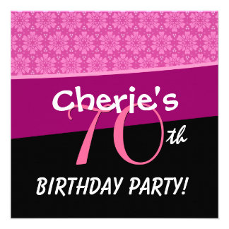 70th Birthday Party Pink Star Flowers W308 Personalized Invitations