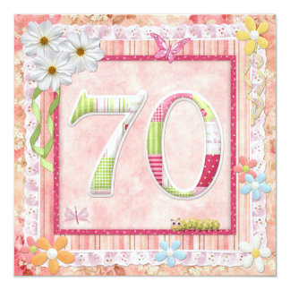 70th birthday party scrapbooking style 13 cm x 13 cm square invitation card
