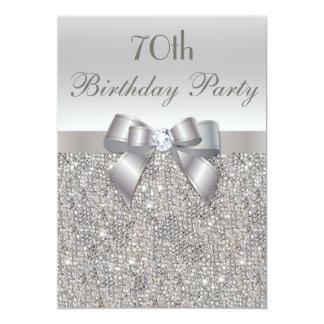 70th Birthday Party Silver Sequins, Bow & Diamond 13 Cm X 18 Cm Invitation Card