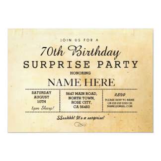 70TH BIRTHDAY PARTY SURPRISE VINTAGE 60TH INVITE