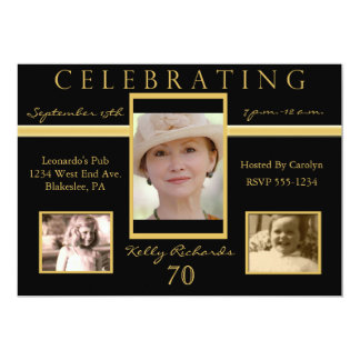70th Birthday Party Tri Photo Invitations 2