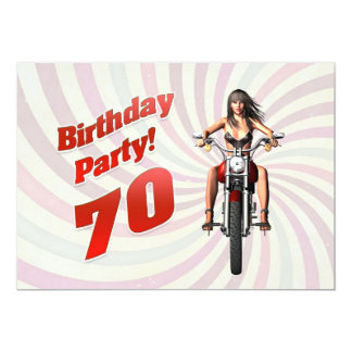 70th birthday party with a girl on a motorbike 13 cm x 18 cm invitation card