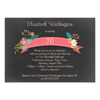 70th Birthday Pink Banner Flowers Chalkboard Card