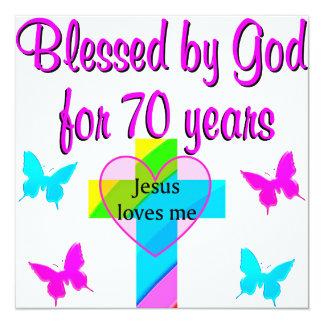 70TH BIRTHDAY PRAYER 13 CM X 13 CM SQUARE INVITATION CARD