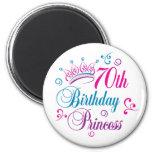 70th Birthday Princess Refrigerator Magnets