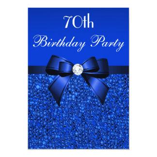 70th Birthday Royal Blue Sequins Bow and Diamond 13 Cm X 18 Cm Invitation Card