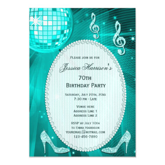 70th Birthday Sparkle Heels and Teal Disco Ball Magnetic Invitations