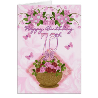 70th Birthday Special Lady, Roses And Flowers - 70 Greeting Card