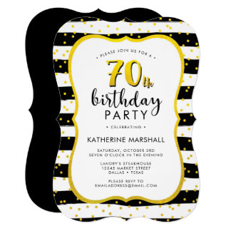 70th Birthday Striped Gold and Black Card