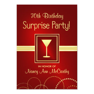 70th Birthday Surprise Party Champagne Invites