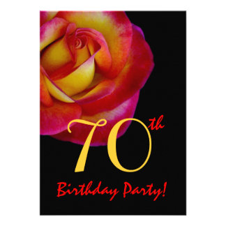 70th Birthday Template - Red and Yellow Rose Custom Invitation