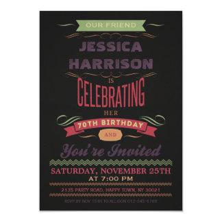 70th Birthday Vintage Chalkboard Typography 13 Cm X 18 Cm Invitation Card