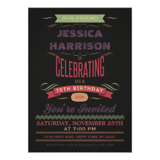 70th Birthday Vintage Chalkboard Typography Personalized Invitations