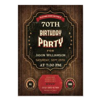 70th Birthday Vintage Chalkboard & Wood 13 Cm X 18 Cm Invitation Card