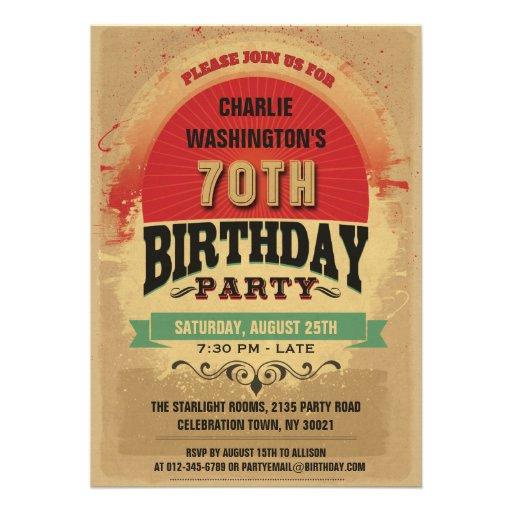 70th Birthday Vintage Typography Grunge Invitations