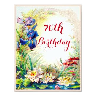 70th Birthday Vintage Waterlilies and Iris Flowers 11 Cm X 14 Cm Invitation Card
