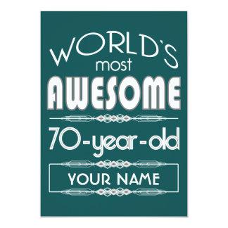 70th Birthday Worlds Best Fabulous Dark Green 13 Cm X 18 Cm Invitation Card