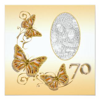70th seventieth birthday autumn photo 13 cm x 13 cm square invitation card