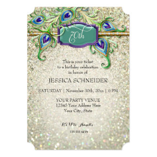 70th Seventieth Birthday Party Peacock Feather 13 Cm X 18 Cm Invitation Card