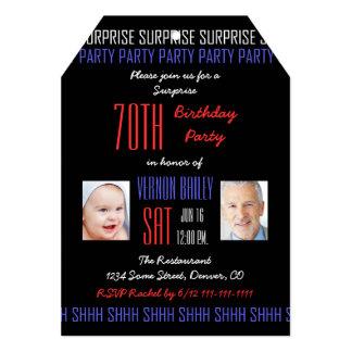 70th Surprise Birthday Party His Photos on Black 13 Cm X 18 Cm Invitation Card