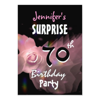70th SURPRISE Birthday Party Invitation Pink Rose