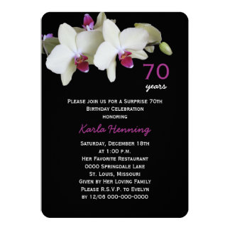 70th Surprise Birthday Party Orchid on Black 13 Cm X 18 Cm Invitation Card