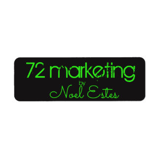 72marketing label sticker neon green black address