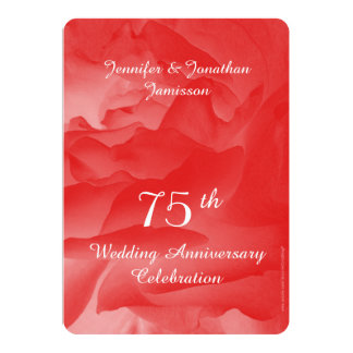 75th Anniversary Party Invitation, Coral Pink Rose Card